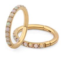 Titanium 16G Gold Hoop Opal Cartilage Daith Rook Helix Tragus Septum Hinged Clicker Eternity Piercing