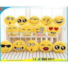 Hot Selling Alta Calidad Novedad Diseño Emoji Expresión Facial Plush Amarillo Almohada Redonda