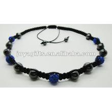 2015 love gift 5PCS Crystal ball shamballa necklace with hematite beads 5PCS Crystal ball shamballa necklace with hematite beads