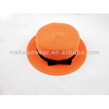 Paper Straw Lady Elegante Sombrero cúpula naranja para la venta al por mayor