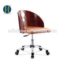 2017 hot selling office furniture brown leather swivel computer wooden chair
