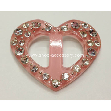 Heart-Shaped Acrylic Dress Buckle, Plastic Garment Accessories,