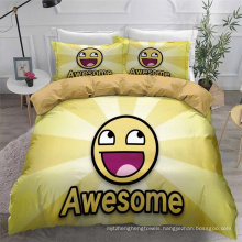 3D Printed Bedding Set with Emoticons, Also Suitable for Duvet Cover