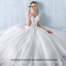 Princess Lace Flower V-Collar Sleeveless Floor-Length Wedding Dress