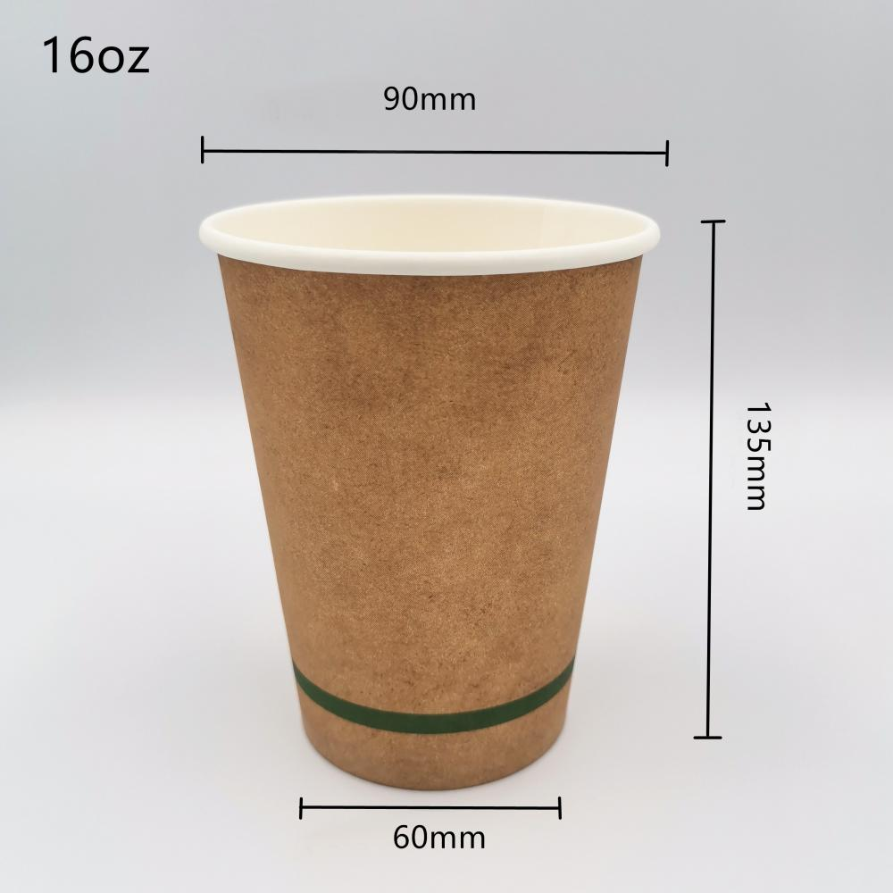 16oz Compostable PLA Lined Coffee Cups