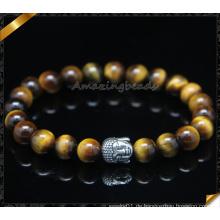 Großhandelsmann-Armband-Stein bördelt silberner Buddha-wulstige Armbänder (CB0123)