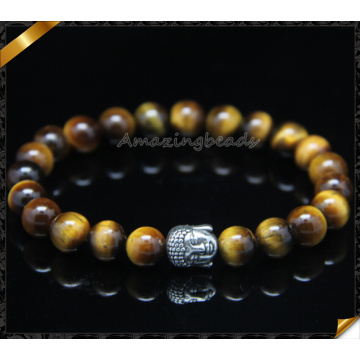 Wholesale Men Bracelet Stone Beads Silver Buddha Beaded Bracelets (CB0123)