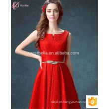 Guangzhou Long Elegant Red Best Quality A-line sem mangas Chiffon OEM Services Vestido de dama de honra