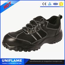 Sapatas de segurança únicas de borracha Ufa085 do tampão de dedo do pé de aço à moda do couro