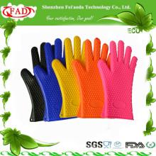 2014 Guantes de horno de silicona de alta calidad resistentes al calor con dedos