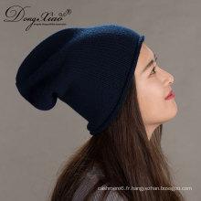 Knit Pom Beanie Chapeau d'hiver Cachemire Womens Knit Chapeaux pour avec Pompe à fourrure de lapin Snap-On