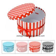 DOT / Stripe Printing Round Paper Gift Box with Ribbon