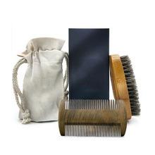 FQ marca barba pente e escova private label barba de madeira escova e pente definido para homens