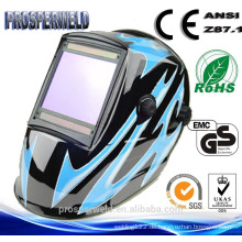 CE EN379 Approved Patentierte Design-Schweißmaske, 4 Sensoren Solar Auto Darkening Schweißhelm mit Decals