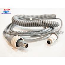 câble spiralé avec connecteurs DIN pour machine médicale
