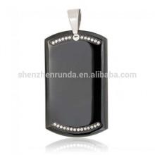 Venta al por mayor verano personalizadas en blanco negro chapado colgante de acero inoxidable perro Tag Rhinestone colgante collar joyas