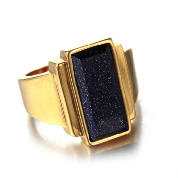 Gold silver Square ring with black diamond