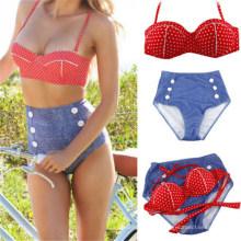 Sexy Women Bikini Bandeau Push up High Waist Swimwear (14344-2)