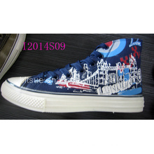 High Top Canvas Shoes with House Printing