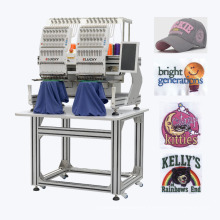 Elucky two heads compact embroidery machine for flat embroidery with high performance