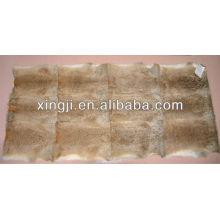 Natural brown color hare rabbit fur throw