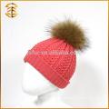 Venta al por mayor genuina bola de piel de mapache Pom Bobble Kids Beanie Hat