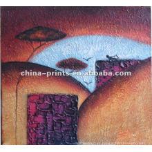 Pintura abstracta de la lona de la decoración de la pared por el aceite pintado a mano