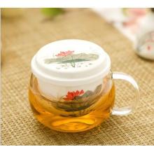 Taza de té de vidrio de alta borosilicato con infusión de cerámica