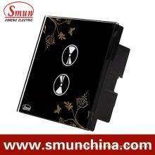 Interruptores de pared con 2 teclas táctiles, interruptor inteligente con control remoto negro del ABS