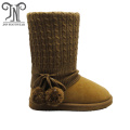 Winter Knit Top Side Pompoms Flat Leather boots