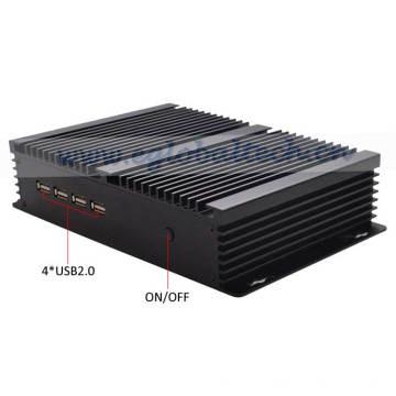 Ordinateur de bureau PC Fan Mini industriel Celeron 1037u avec double port RJ45 et 4 ports RS232