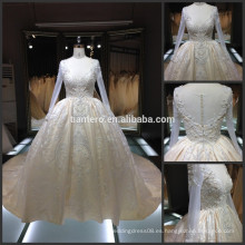 Dama de fiesta cena de fiesta de novia vestido de novia de la muestra real de manga larga profunda cuello en V catedral tren de vestido de novia real 2016