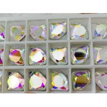 Cuentas de vidrio traseras planas para joyas de cristal