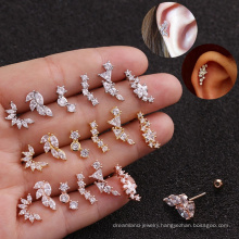 Gold Silver Rose-Gold Color Plated  316L Surgical Steel Zircon Cartilage Tragus  Women's Earring Studs Piercing Jewelry