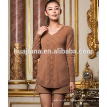 Pull long en tricot cachemire 100% tricoté pour femme