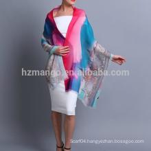 Best seller fairy tale town digital inkjet print wool shawls