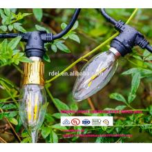 Extension Cordon 21 ampoules Intempéries 48Ft EU UK Plug LED Globe Décoratif Chaîne Extérieure Lumières SLT-160
