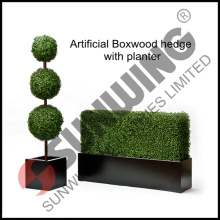 Artificial boxwood hedge with planter