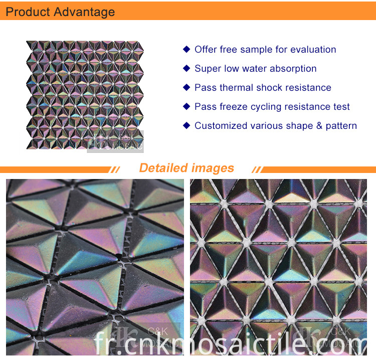 Triangular Recycled 3D Mosaic Tile Rainbow Color