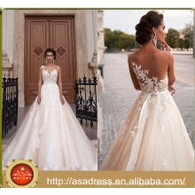 ASWY16 Sexy Back Transparent Short Sleeve Bridal Ball Gown Alibaba Wedding Dress