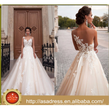 ASWY16 Sexy Back Transparent Short Sleeve Bridal Ball Gown Alibaba Wedding Dress