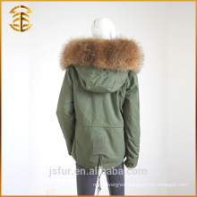 Factory Direct Sale Adult Size Lady Raccoon Fur Hooded Parka