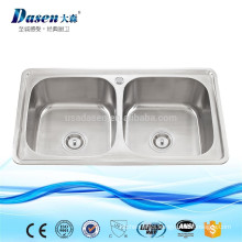 Twin bowl kitchen worktop stainless steel 304 anti rust sink