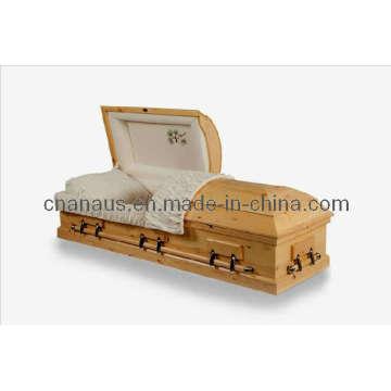 American Style Solid Pine Wood Casket (9050032)