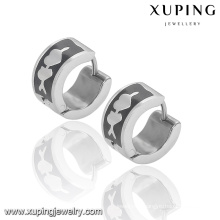 92333 Fashion Xuping Black -White Cool Stainless Steel Jewelry Earring Huggie in Promotion