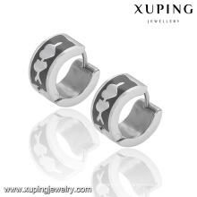 92333 Moda Xuping Preto-Branco Legal Aço Inoxidável Jóias Brinco Huggie em Promoção