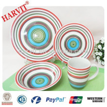 16pcs Ceramic Stoneware Hand Painted Dinner Set