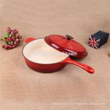 Cazo caliente del hierro fundido del esmalte de la venta con la manija larga
