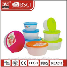 New Four Colors Round Microwave Food Container(3pcs)