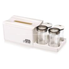Plastic Tissue Box with 4 Divider Jar